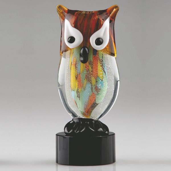 hand blown art glass owl award