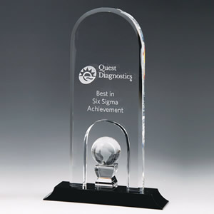 dome crystal plaque globe award