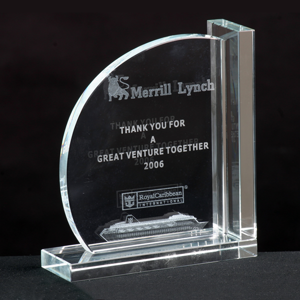 optical crystal bookends gift award
