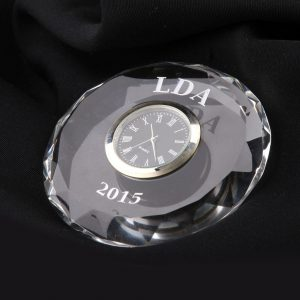 crystal faceted clock paperweight awards