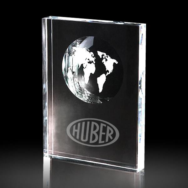 crystal globe rectangle block award