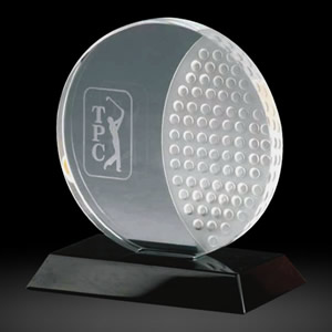 round crystal golf ball awards