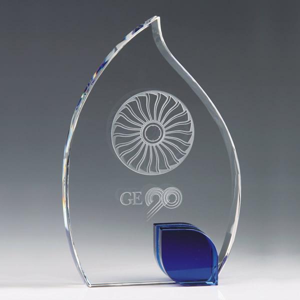 blue crystal flame award crystal leaf plaque award