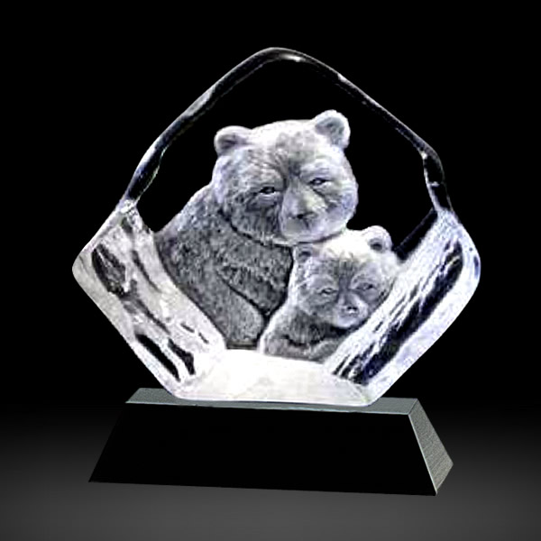 crystal bear and cub sculpture award