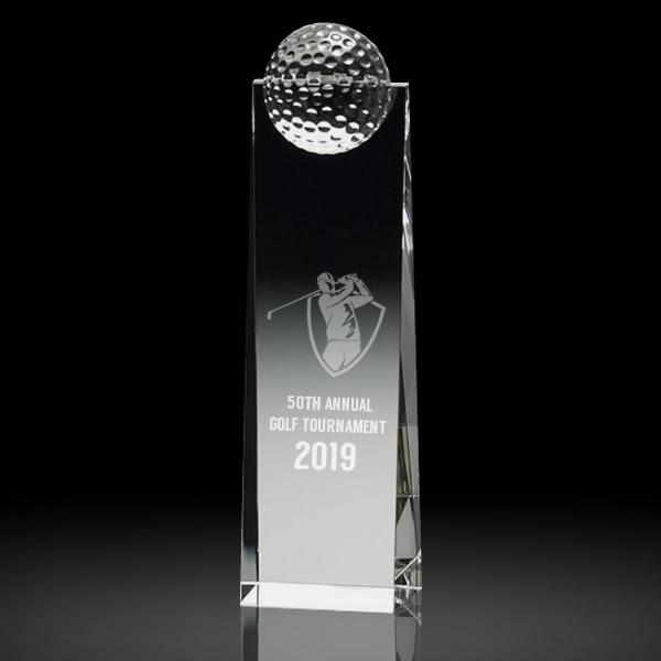 slanted crystal golf ball trophy awards