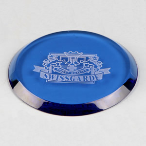 high end blue round single glass coaster awards