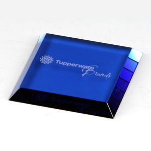 high end blue square single glass coaster awards