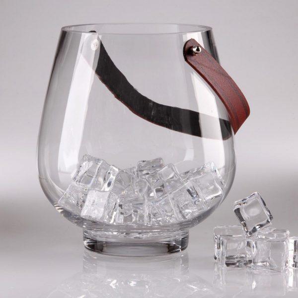 Large Crystal Ice Bucket with Handle