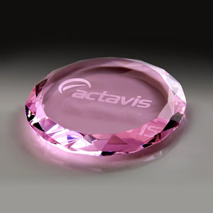 pink crystal faceted paperweight awards