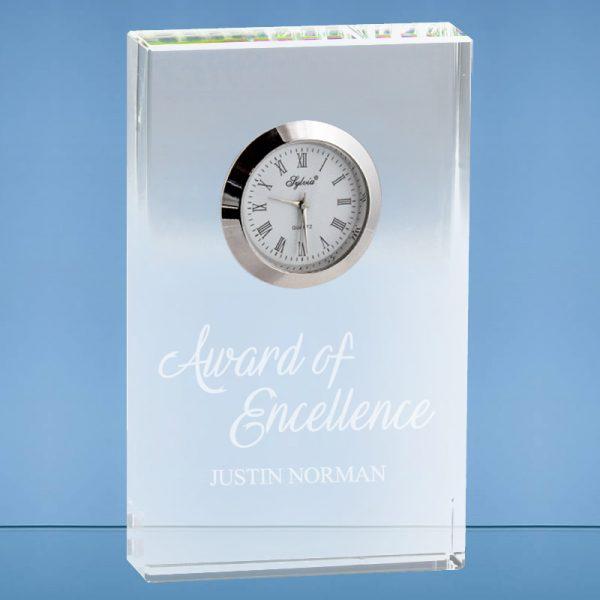 Personalized Optical Rectangle Crystal Clock Executive Gift Award