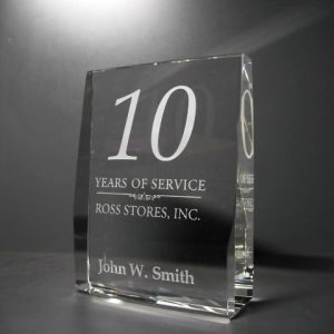 years of service crystal plaque award