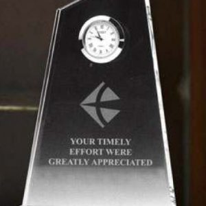 slanted crystal clock awards