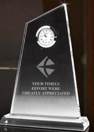 peak crystal clock award plaque
