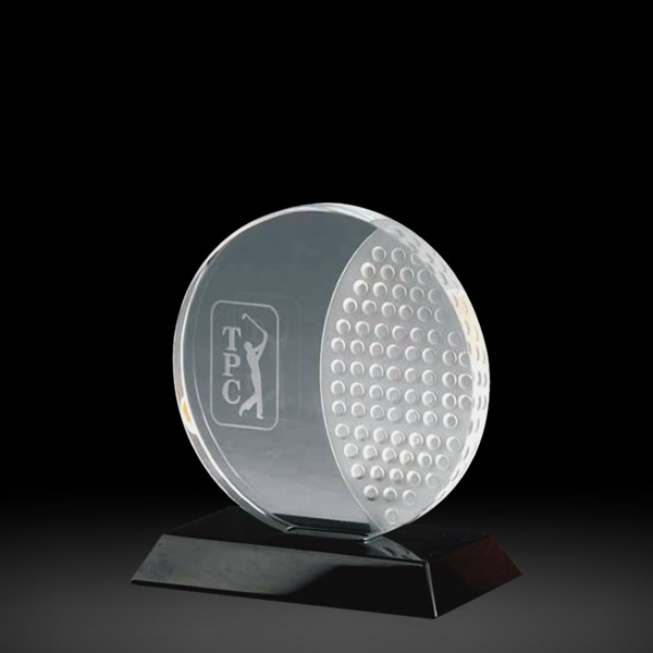 round crystal golf plaque awards