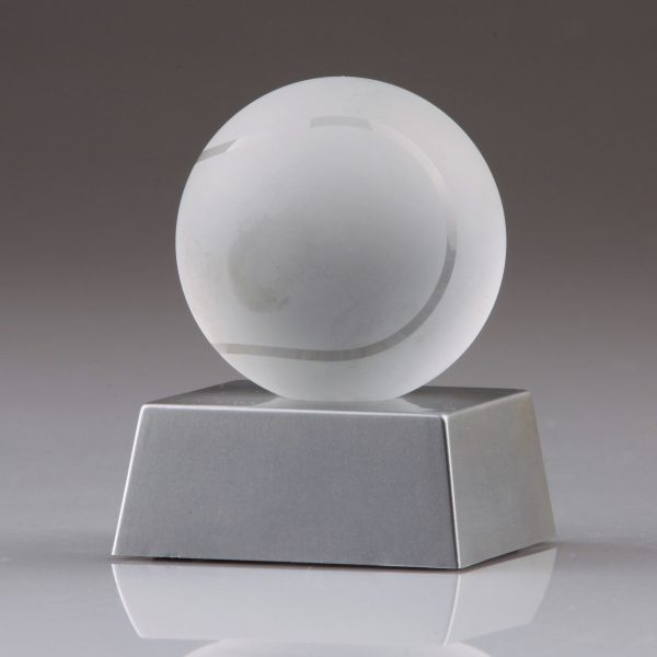 frosted crystal tennis ball trophy