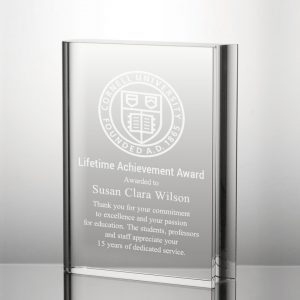 crystal book plaque award