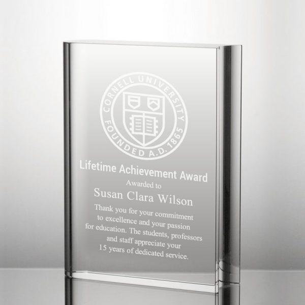 crystal book plaque award