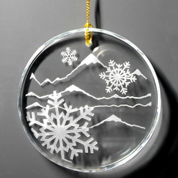 round crystal snowflake Christmas ornament holiday gift