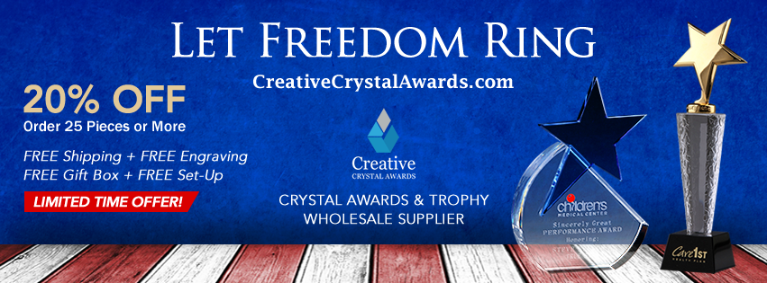Fourth Of July themed Crystal Awards and Trophies
