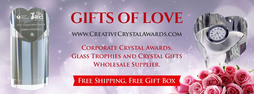 Heart Shaped Crystal Awards and Glass Trophies