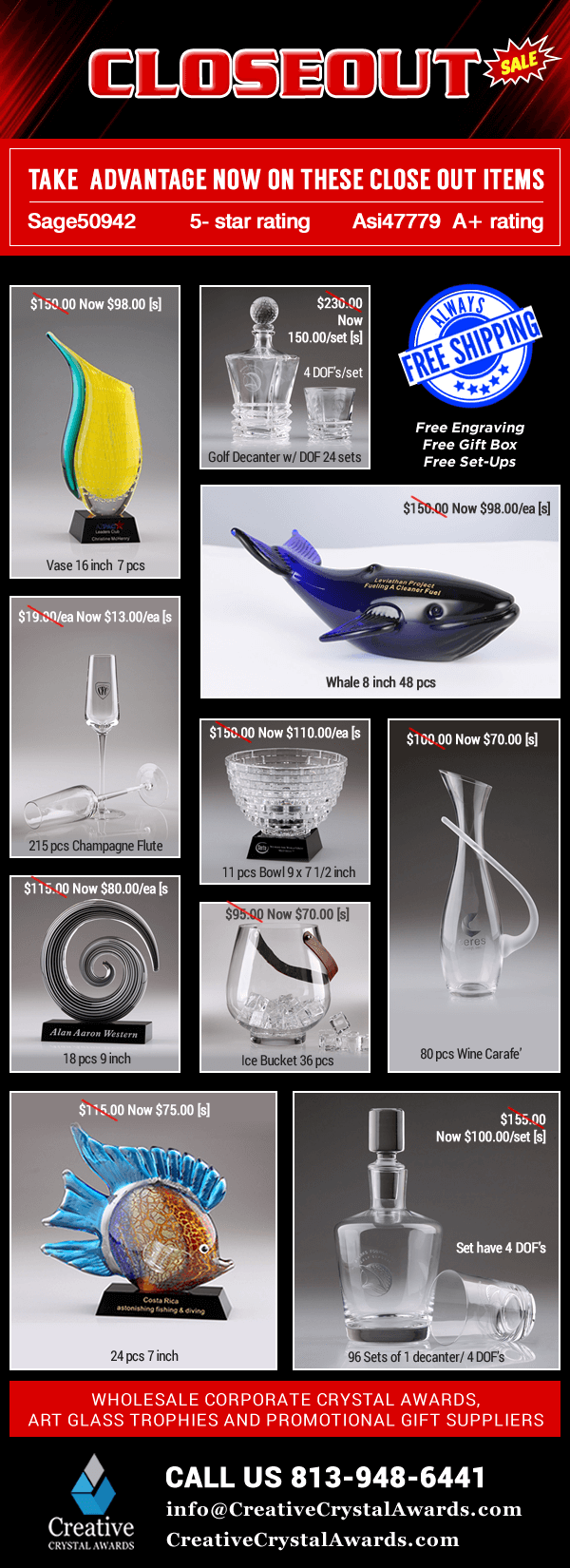 Custom Awards Personalized Glass Trophies Engraved Promotional Gifts