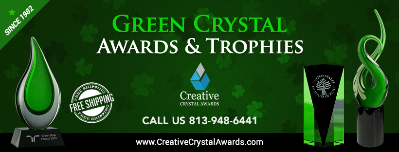 green crystal awards and trophies