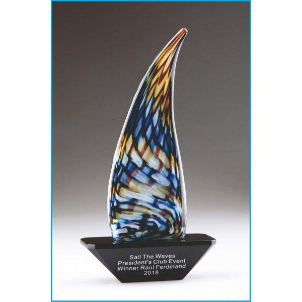 Multicolor Sailboat Art Glass Award