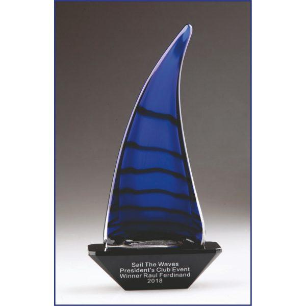 Blue Art Glass Sailing Boat Trophy