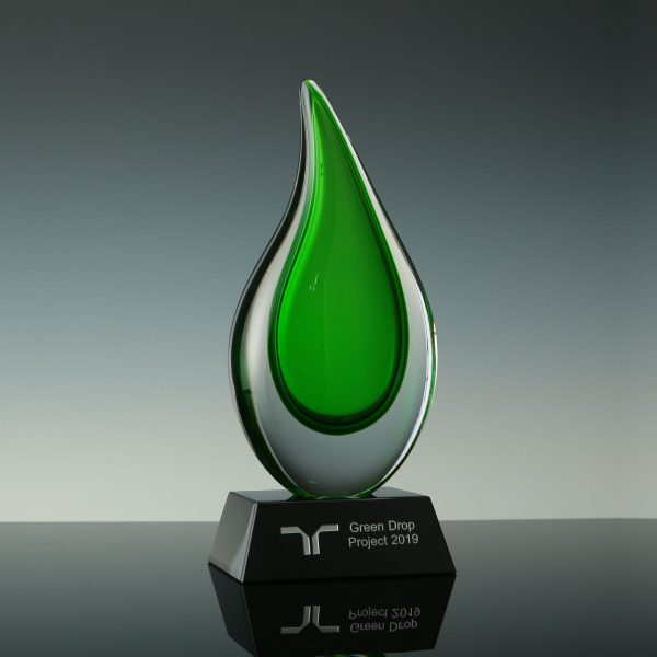 Personalized Hand Blown Water Drop Art Glass Trophies