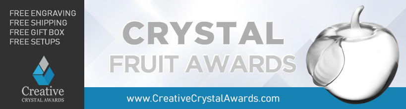 personalized crystal fruit awards engraved crystal fruit trophy suppliers