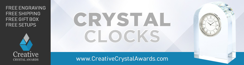 custom crystal clock promotional gift suppliers