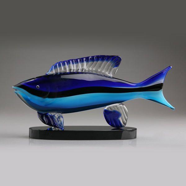 Murano Glass Fish Sculpture Blown Glass Fishing Trophy