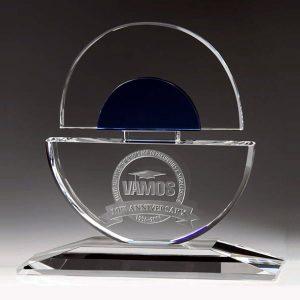 Custom Blue Crystal Circle Award