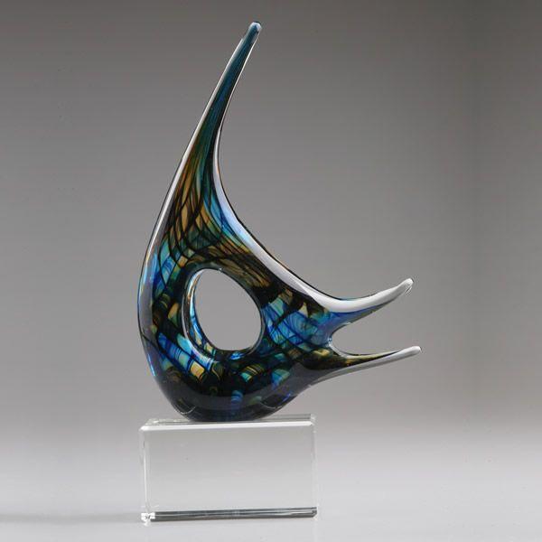 Murano Glass Angel Fish Sculpture Blown Glass Art Angel Fish Award