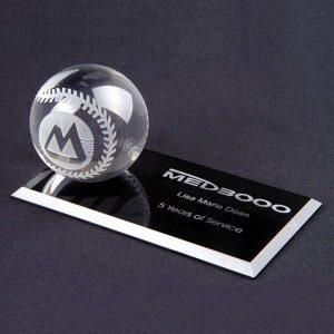 Optical Crystal Baseball on Flat Rectangle Base