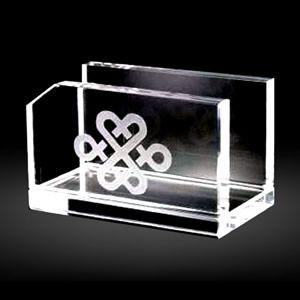 Engraved Glass Business Card Holder Crystal Office Desk Gifts
