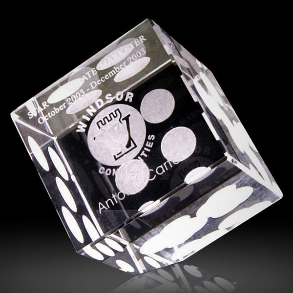 Optical Crystal Dice Paperweight Clear Dice Desktop Gift Award