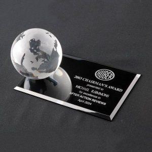 Optical Crystal Globe on Flat Rectangle Base Award