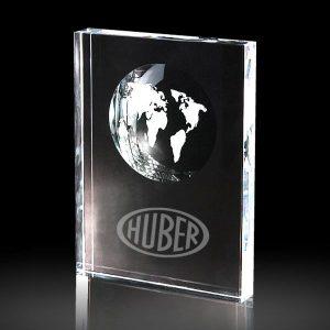 Clear Crystal Globe Rectangle Block Trophy Award