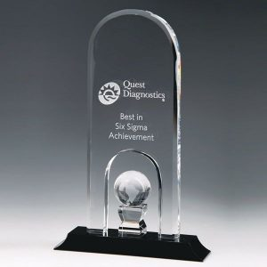 Crystal Dome Trophy with Inset Globe on Black Base