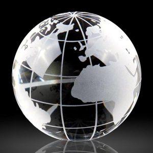 Optic Crystal Globe Paperweight Engraved Crystal Globe Gift Awards