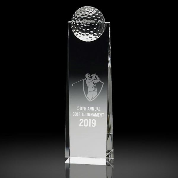 Personalized Crystal Golf Tower Award Engraved Crystal Golf Trophy