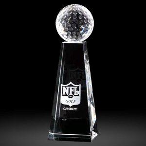 Personalised Optical Golf Ball Crystal Tower Award