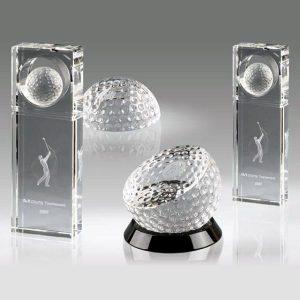 Optical Crystal Golf Ball Awards Custom Crystal Golf Trophy Awards