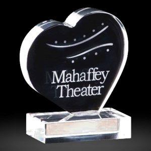Optical Crystal Heart Award Engraved Heart Crystal Trophy Award
