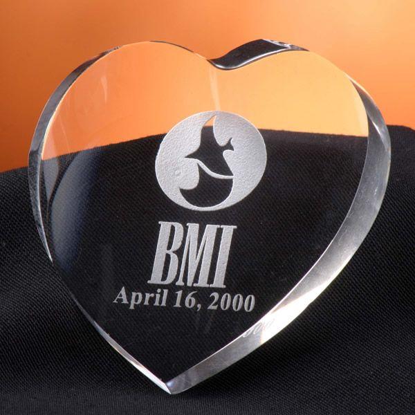 Crystal Heart Paperweight Award
