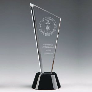 Optical Crystal Tower Plaque Engraved Crystal Trophy Awards