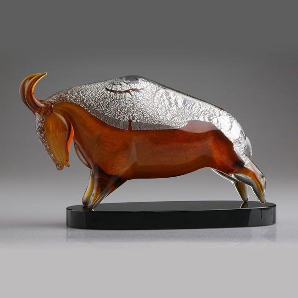 Murano Glass Bull Figurine Blown Art Glass Raging Bull Award