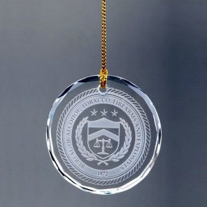 Personalized Crystal Ornaments Engraved Round Crystal Christmas Ornaments
