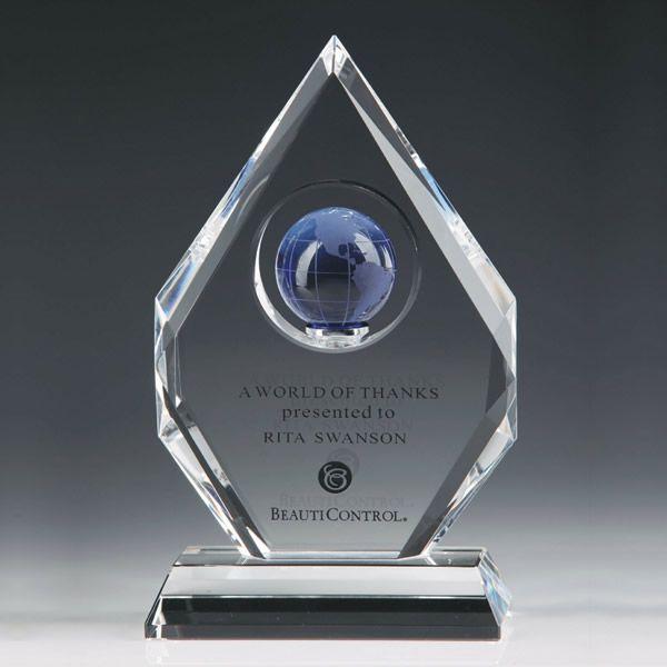Custom Diamond Crystal World Globe Trophy Awards